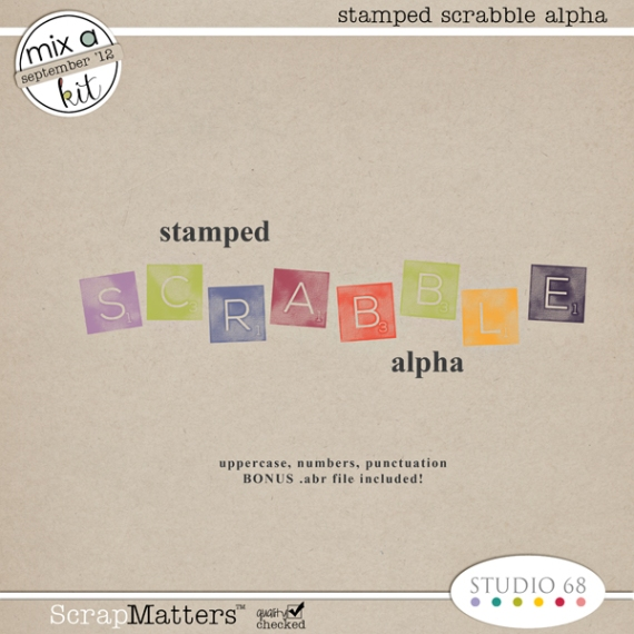 stamped scrabble alpha by Studio 68